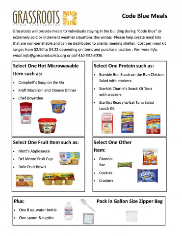Donations Requested! Grass Roots Code Blue Meal collection